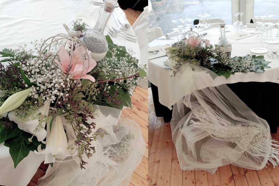 Especial Bodas - Decoración banquete - La Tiara de María - Arte floral